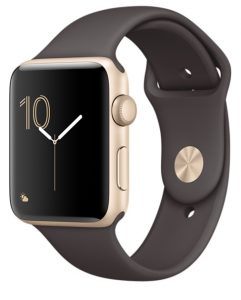 Watch Series 1 Aluminum (42mm), Yellow Gold, Sport Band Cocoa