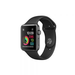 Watch Series 1 Aluminum (42mm), Space Gray, Dark brown silicone band