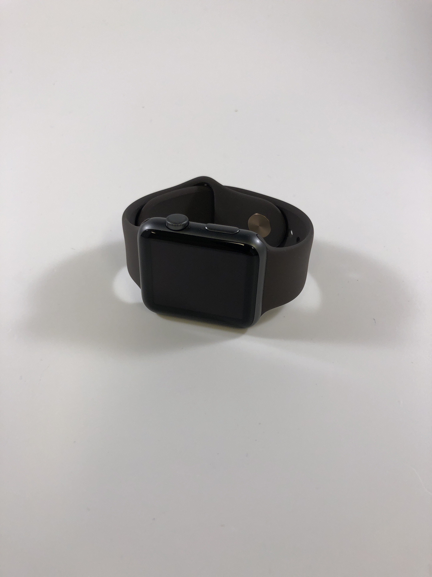 Watch Series 1 Aluminum (42mm), Space Gray, Dark brown silicone band, Bild 1