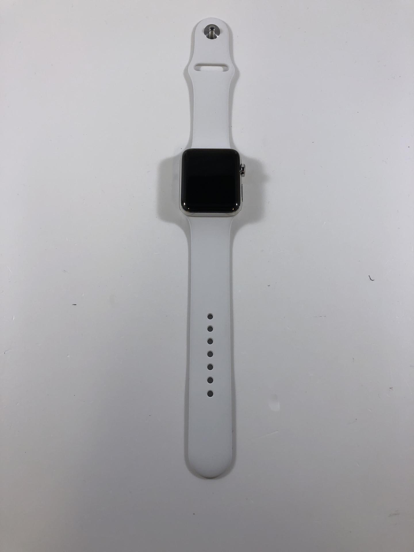 Watch Series 2 Steel (42mm), Stainless Steel, White Sport Band, Kuva 2