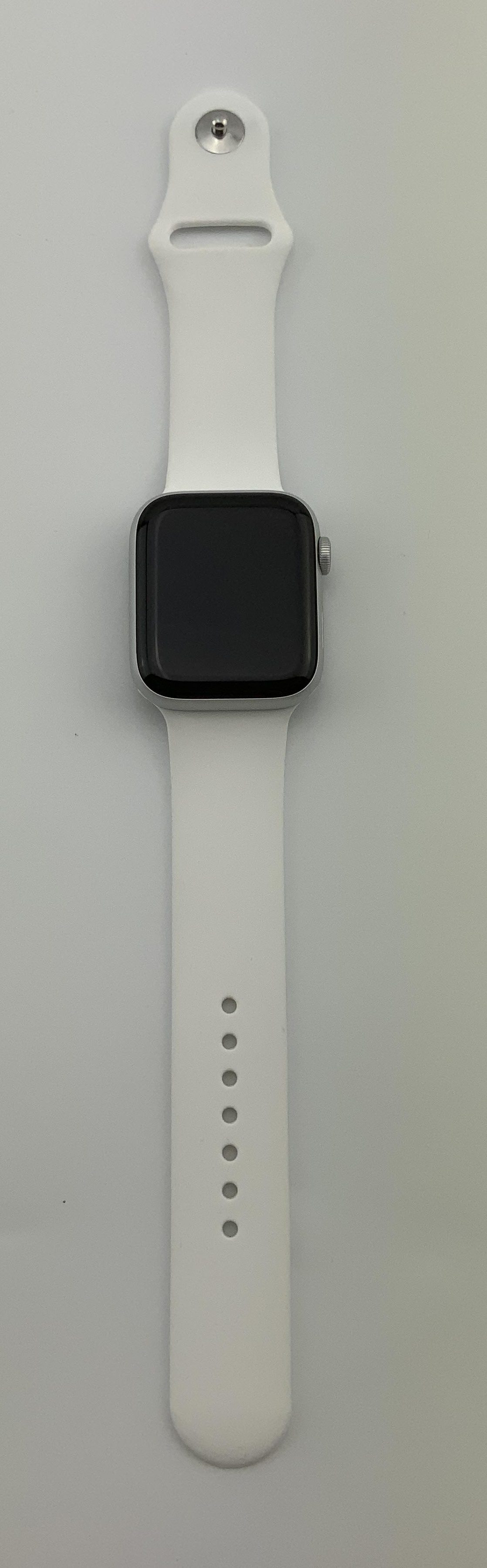 Watch Series 4 Aluminum Cellular (44mm), Silver, White Sport Band, Kuva 1