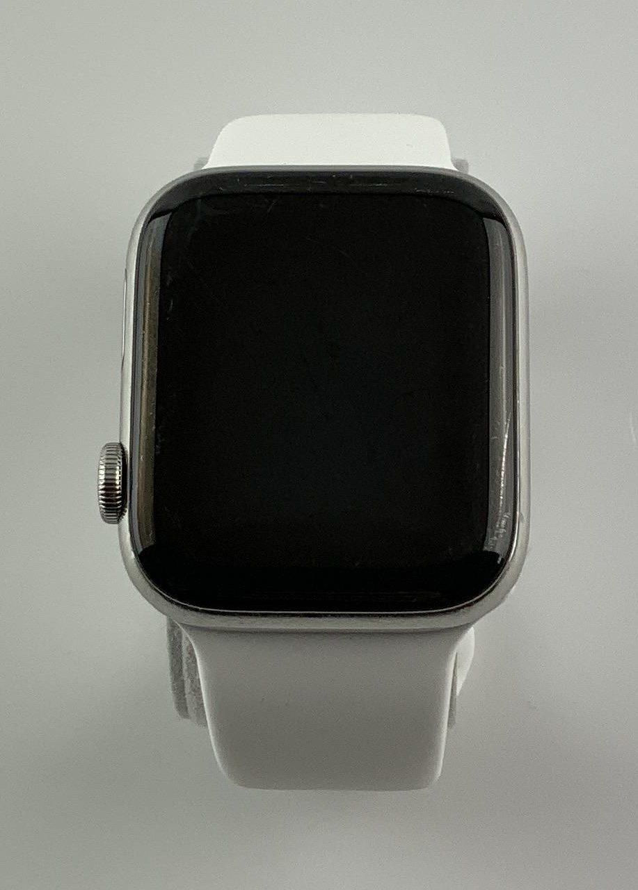 Watch Series 4 Steel Cellular (44mm), Silver, White Sport Band, bild 2