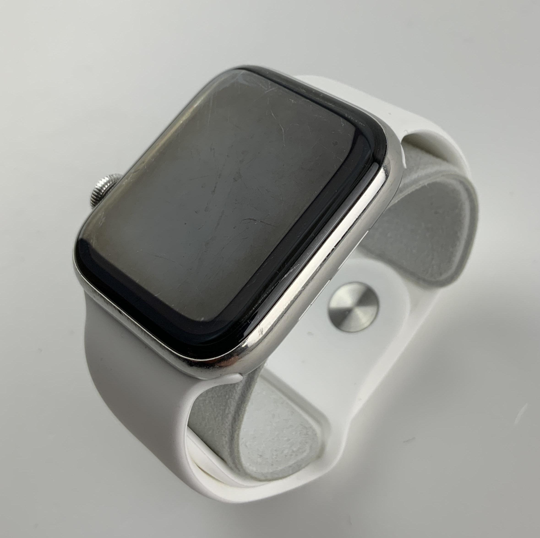 Watch Series 4 Steel Cellular (44mm), Silver, White Sport Band, bild 3