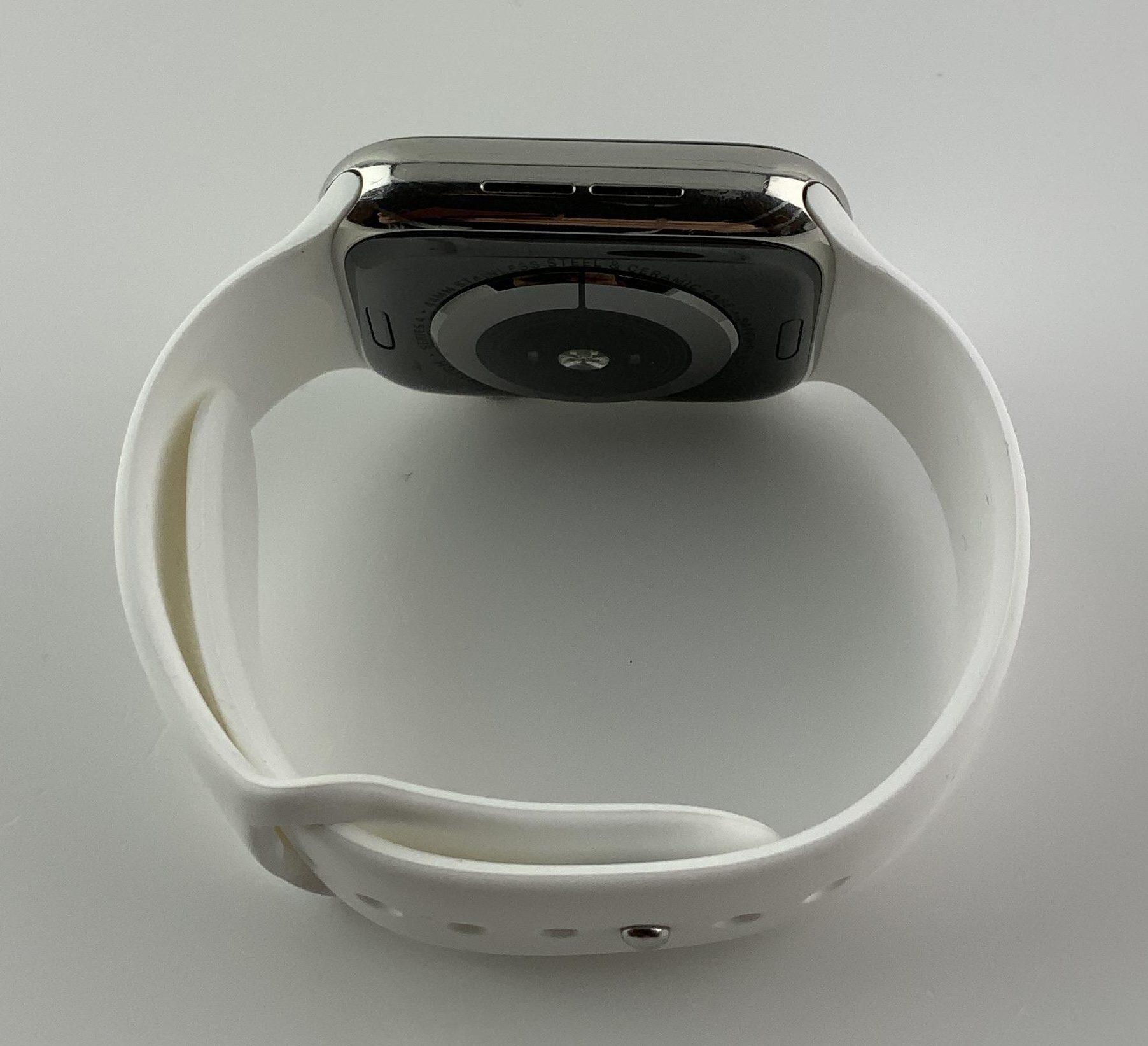 Watch Series 4 Steel Cellular (44mm), Silver, White Sport Band, bild 4