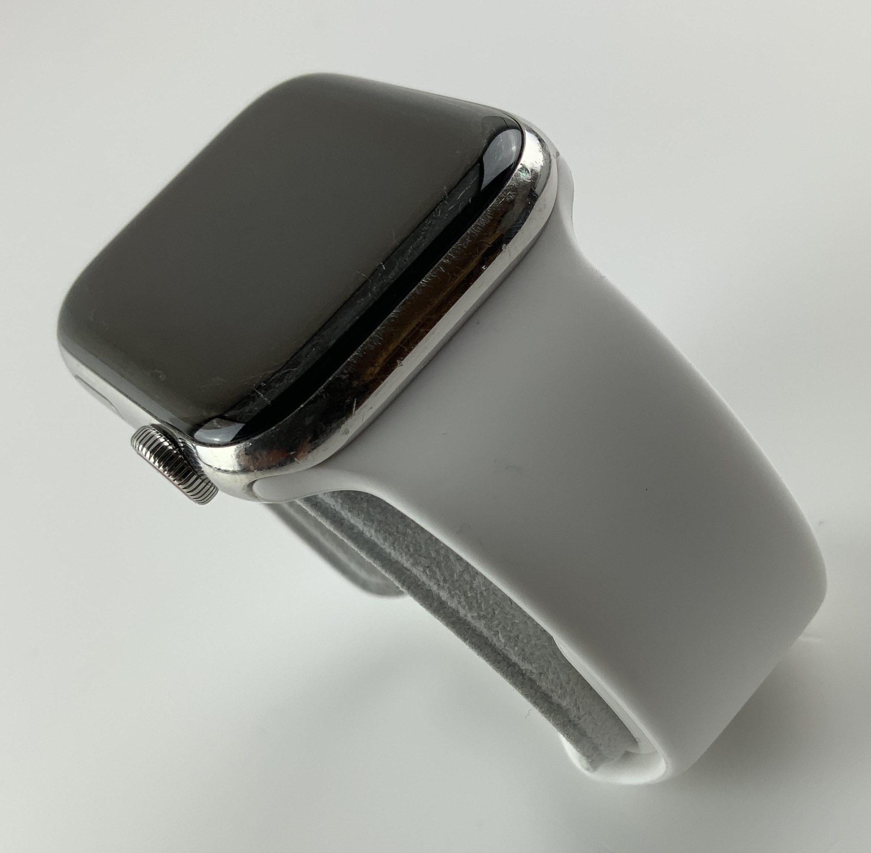 Watch Series 4 Steel Cellular (44mm), Silver, White Sport Band, bild 5